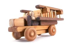 Handmade Wooden Fire Engine with Ladders