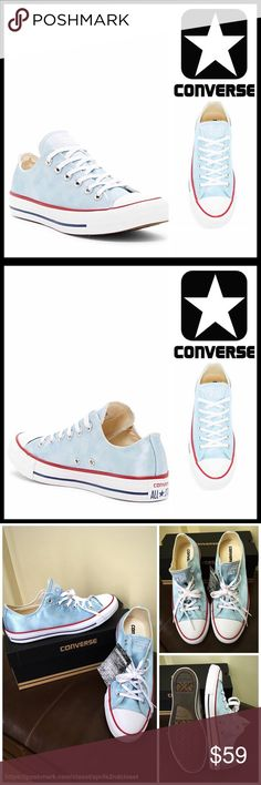 CONVERSE STYLISH SNEAKERS NEW WITH TAGS   CONVERSE STYLISH SNEAKERS Sheen Wash Oxford Sneaker   SIZING- Unisex, Men's sizes are shown in listing   * Round rubber capped toe & lace up vamp  * Flat sneaker sole  * Contrast trim details  * Topstitch detail  * Non-marking textured sole & logo tongue  * Black stripe outsole   Material: Textile upper, rubber sole Color-Pale blue, white  Item: Search words #   No Trades ✅ Offers Considered*✅  *Please use the blue 'offer' button to submit an offer…