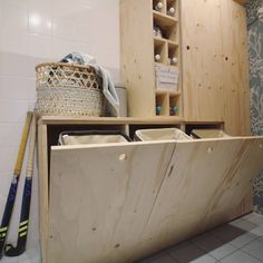 For recycling bins Plywood Interior, Pantry Laundry Room, Garage, House Wall, Recycling Bins, Next At Home, Home Renovation, Sweet Home, New Homes