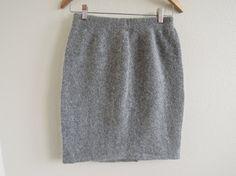 Fuzzy Angora Skirts   Vtg Fuzzy Angora Tweed Speckle Light Grey Sweater Knitted Skirt Size ...