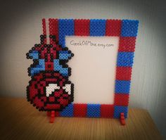 SpiderMan photo frame perler beads by GeekofMine