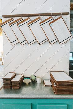 Menu display: love this idea for hanging artwork in the home.