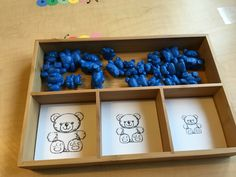 Sorting Trays- Trays from Amazon, sorters from Learning Resources, cut/laminated card stock in the smaller compartments.