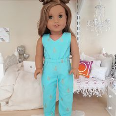 Jumpsuit for American Girl Dolls American Girl Doll Pictures, American Girl Crafts, American Doll Clothes, Ag Doll Clothes, Doll Clothes Patterns, American Dolls, Girl Dolls, Ag Dolls, American Girl Accessories