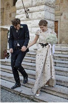 Wonderful Perfect Wedding Dress For The Bride Ideas. Ineffable Perfect Wedding Dress For The Bride Ideas. Polka Dot Wedding Dress, Colored Wedding Dresses, Wedding Colors, Dot Dress, Dress Shoes, Dress Lace, Quirky Wedding Dress, Unusual Wedding Dresses, Italy Wedding
