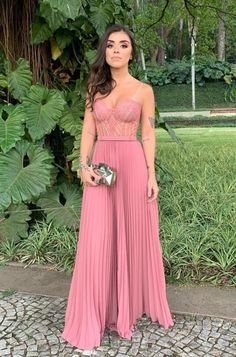 Sexy Sleeveless Pink Lace A Line Prom Dress, Long Evening Dresses A Line Prom Dresses, Evening Dresses, Bridesmaid Dresses, Dress For You, Dress Up, Dress Long, Dresses Elegant, Look Chic, Pink Lace