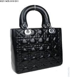 Сумка Christian Dior модель Lady Dior из лакированной кожи черного цвета
