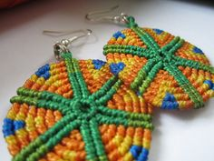 Orange&Green Macrame Earrings