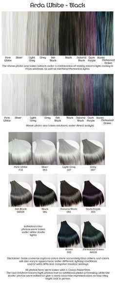 Arda white, black, wig fiber color pallette.