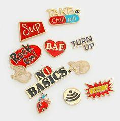 "NEW 10 Piece ""Rock On"" Mixed Enamel Finger Sign Brooch Set #Unbranded"
