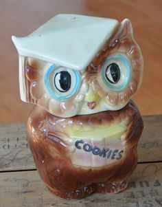 Wise Owl Cookie Jar// have it! Antique Cookie Jars, Ceramic Cookie Jar, Teapot Cookies, Biscuit Cookies, Kinds Of Cookies, Cute Cookies, Vintage Cookies, Candy Dishes, Piggy Bank