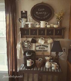 Coffee bar, coffee station, rustic coffee bar...