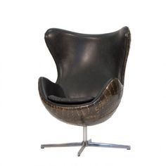 Large round Spitfire Vintage Aviator Egg Swivel Chrome Chair With Distressed Brown Leather Metal Airplane Back And Sides, Best Selling Aircraft Furniture UK Swivel Chair, Tub Chair, Brown Leather Armchair, Aluminum Uses, Wing Chair, Cool House Designs, Living Room Chairs, Desk Chairs, Dining Room