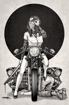 29 Ideas For Motorcycle Girl Illustration Biker Chick Motorcycle Posters, Motorcycle Art, Motorcycle Design, Bike Art, Motorcycle Birthday, Biker Chick, Biker Girl, Pin Up Moto, Aztecas Art