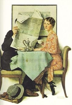 Breakfast Table is a painted illustration by Norman Rockwell for the Aug. 23, 1930, edition of The Saturday Evening Post.