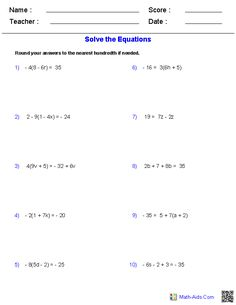 Multiple_Step Equations Worksheets Containing Integers