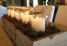 wood boxes - moss - candles in Mason jars centerpieces Simple Centerpieces, Mason Jar Centerpieces, Mason Jar Crafts, Mason Jars, Glass Jars, Christmas Decorations, Holiday Decor, Christmas Candles, Christmas Centerpieces