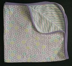 Mini Muffin Receiving Blanket Circle Squiggly Lines Purple Trim Baby Blankey  #MiniMuffin