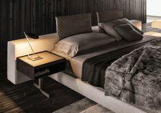 """Bett mit minimalistisch grauem Design – """"Yang"""" von Minotti  #design #grauem #minimalistisch #minotti"""