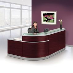 Esquire Glass Top Reception Desk with ADA Return- x – Glass Office Desk Curved Reception Desk, Office Reception Design, Salon Reception Desk, Curved Desk, Office Table Design, Reception Counter, Reception Table, School Reception, Office Waiting Rooms