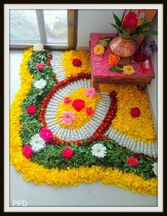 12 Types of Flower Rangoli Designs for different areas Flower Rangoli Images, Rangoli Designs Flower, Colorful Rangoli Designs, Rangoli Ideas, Rangoli Designs Diwali, Diwali Rangoli, Indian Rangoli, Diwali Decorations At Home, Festival Decorations