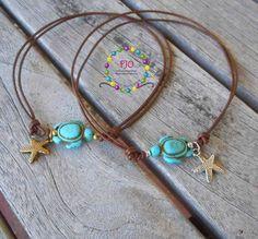 Beachy Something Blue Turtle Howlite Gemstone adjustable thonging leather Anklet - Stackable Bracelet