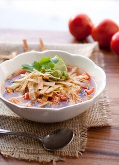 Slow Cooker Chicken Tortilla Soup: 20 oz boneless skinless, chicken breasts halves 3 (14.5 oz) cans low-sodium chicken broth 1 (14.5 oz) can diced tomatoes with green chilies 3/4 cup diced yellow onion (about 1 small) 1 Tbsp chili powder 1 tsp paprika 1 tsp ground cumin 3/4 tsp garlic powder 1/2 tsp ground coriander 1 Tbsp fresh lime juice 3 Tbsp chopped fresh cilantro