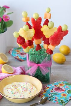 Easter bunny and baby chick fruit skewers and lemon dip recipe. An easy holiday party dessert idea!