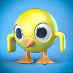 Cartoony bird / chick toy character design, available as a 3D print.