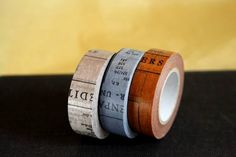A cute set of 3 Oldbook style Japanese Washi Masking Tape. This one is perfect for collage and can be used for scrapbooking, art journaling, mixed media projects, gift wrapping and packing embellishment.15mm x 15mSold by single color or set of all 3. $3.50