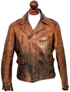 A late example of a Monarch aviator style half-belt jacket in colt leather Bobberbrothers Men's Leather Jacket, Vintage Leather Jacket, Biker Leather, Leather Men, Leather Jackets, Custom Leather, Cordovan Shoes, Dapper Suits, Riders Jacket