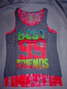 """Gifts for Girls SO """"Best Friends"""" Hi-Low Tank Set Layered Shirts L-14 GIrl NEW"""
