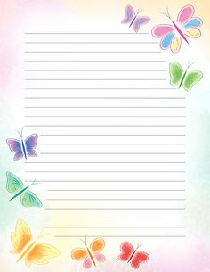 Free printable pastel butterfly stationery in JPG and PDF formats. Stationary Printable Free, Printable Lined Paper, Free Printables, Notebook Paper, Writing Paper, Letter Writing, Stationery Paper, Card Patterns, Note Paper