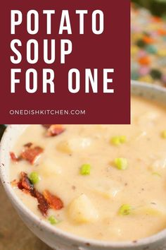 A single serving potato soup recipe made with just one potato! It's creamy, comforting, and so easy to make. Filled with bacon and cheese, this easy potato soup can be ready in 30 minutes! Kitchen Dishes, Food Dishes, Potato Recipes, Soup Recipes, Curried Butternut Squash Soup, Making Mashed Potatoes, Single Serving Recipes, Potato Soup, Meals For Two