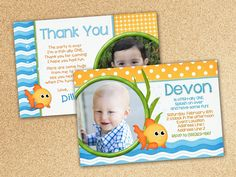 Goldfish Invitation For Birthday Party Or Baby By BeeAndDaisy - Goldfish birthday invitation