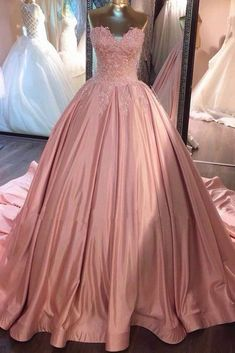 Ball Gown Pink Strapless Appliques Sweetheart Sweep Train Satin Evening Dresses uk PM775
