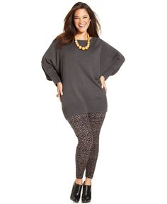 plus size tunics and leggings | Style Plus Size Dolman-Sleeve Tunic Sweater & Animal-Print Leggings