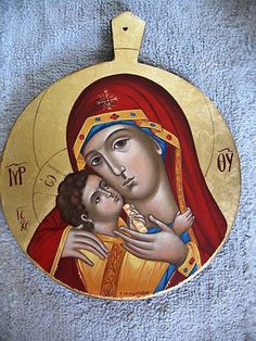 "Hand painted Byzantine Icon of ""Panagia Theotokos "" on wood with original GOLD LEAF 22 karat. Religious Icons, Religious Art, Queen Of Heaven, Byzantine Icons, Orthodox Icons, Mother Mary, Our Lady, Madonna, Art Pieces"