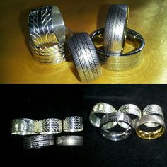 Tyre rings in Solid Silver or Tungsten. Silver Car, Silver Ring Designs, Custom Jewelry, Sterling Silver Rings, Jewellery, Crafts, Jewelery, Manualidades, Sterling Silver Thumb Rings