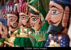 Traditional Rajasthani puppet dolls on sale as souvenirs in Rajasthan, India Stock Photo