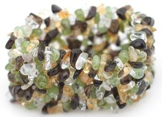 Smoky Quartz, Peridot, Citrine and Quartz Chip Cuff Bracelet.   , $7.00 (http://lifeisagiftshop.com/natural-gemstone-chip-cuff-bracelet/)