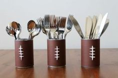 Easy Super Bowl cutlery holder.