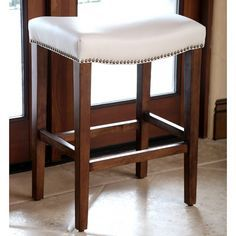 Monica Pedersen Ivory Leather Counter Stool by Abbyson Living - Overstock™ Shopping - Great Deals on Abbyson Living Bar Stools