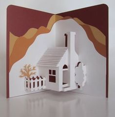 Home Pop-Up Card Home Décor Origamic Architecture Handmade in White and Earth Tones of Shimmery Brown and Mustard Sand OOAK Pop Up Haus, Handmade Home Decor, Diy Home Decor, Handmade Cards, Diy And Crafts, Paper Crafts, Foam Crafts, Paper Pop, 3d Cards
