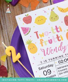 Invitación imprimible - Two-tti Frutti Birthday Invitation Twotti Frutti Party Tutti