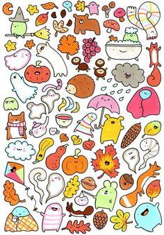 Lots and lots of kawaii doodles 秋 Cute Animal Drawings, Kawaii Drawings, Doodle Drawings, Cartoon Drawings, Doodle Art, Cute Drawings, Kawaii Doodles, Cute Doodles, Kawaii Art