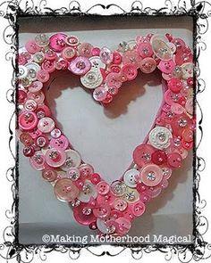 Vintage Button heart wreath - pretty in pink - Valentine's Day? Valentine Day Wreaths, Valentine Day Crafts, Valentine Decorations, Holiday Crafts, Holiday Fun, Valentine Ideas, Holiday Ideas, Holiday Decor, Button Art