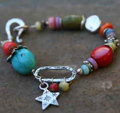 Colorful Stones & Star Bracelet by ckbcreations on Etsy (Chris Benson) [ceramic beads?]