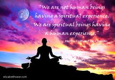 """We are spiritual beings having a human experience."""