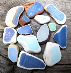 English sea glass pottery shards, amazing crazing
